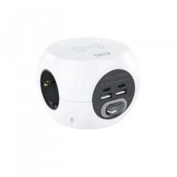 BASE 3 ENCHUFES CON 4 TOMAS 2*USB + 2*USB C CARGA INALAMBRICA NANOCABLE